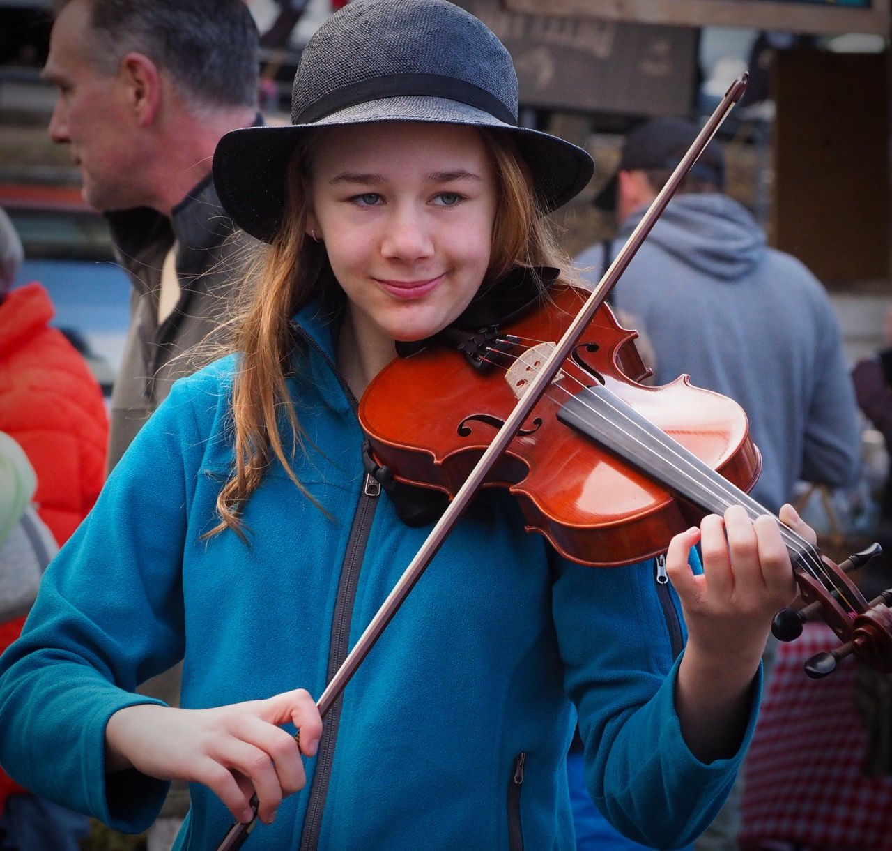 young busker at bellingham farmers market